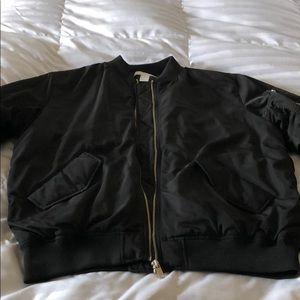 Black silky bomber jacket